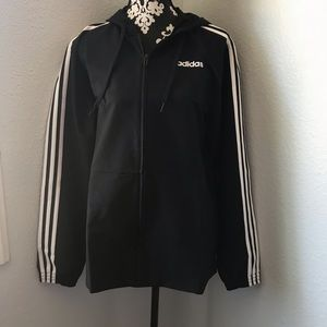 Adidas black windbreaker jacket